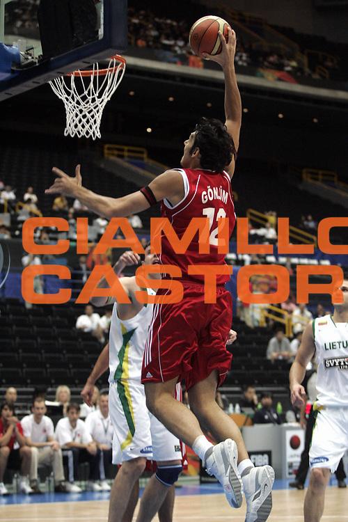 DESCRIZIONE : Saitama Giappone Japan Men World Championship 2006 Campionati Mondiali Lithuania-Turkey <br /> GIOCATORE : Gonlum <br /> SQUADRA : Turkey Turchia <br /> EVENTO : Saitama Giappone Japan Men World Championship 2006 Campionato Mondiale Lithuania-Turkey <br /> GARA : Lithuania Turkey Lituania Turchia <br /> DATA : 31/08/2006 <br /> CATEGORIA : <br /> SPORT : Pallacanestro <br /> AUTORE : Agenzia Ciamillo-Castoria/H.Bellenger <br /> Galleria : Japan World Championship 2006<br /> Fotonotizia : Saitama Giappone Japan Men World Championship 2006 Campionati Mondiali Lithuania-Turkey <br /> Predefinita :