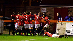 ALTRINGHAM, ENGLAND - Friday, March 10, 2017: Manchester United's Aidan Barlow celebrates scoring the second goal against Liverpool during an Under-18 FA Premier League Merit Group A match at Moss Lane. (Pic by David Rawcliffe/Propaganda)