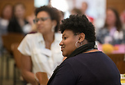 Kendyl Walker listens to Gigi Secuban speak during the Women's Mentoring Meet and Greet event on Sept. 4, 2018 in Walter Rotunda. Photo by Hannah Ruhoff