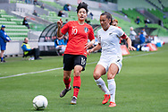 MELBOURNE, VIC - MARCH 06: Geummin Lee (10) of Korea Republic competes with Ali Riley (7) of New Zealand during The Cup of Nations womens soccer match between New Zealand and Korea Republic on March 06, 2019 at AAMI Park, VIC. (Photo by Speed Media/Icon Sportswire)