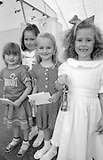 Miss Miners Lamp 5 to 7 years winner Bethan Williams, Royston Drift; 2nd & 3rd unknown 4th place Keitha Poole, Houghton Main. 1992 Yorkshire Miners Gala, Barnsley.