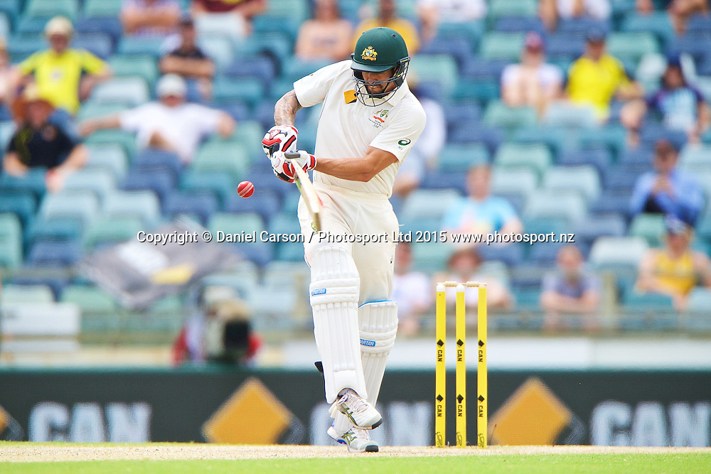 Mitchell Johnson of Australia plays a pull shot off the hips during Day 5 on the 17th of November 2015. The New Zealand Black Caps tour of Australia, 2nd test at the WACA ground in Perth, 13 - 17th of November 2015.   Photo: Daniel Carson / www.photosport.nz