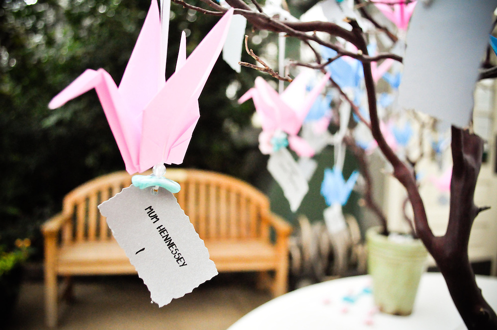Jane hand-made each of these origami crane name cards for her wedding guests at the Garfield Conservatory in Chicago, Illinois