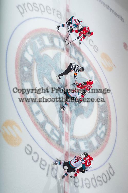 KELOWNA, CANADA - APRIL 8: The Kelowna Rockets face off against the Portland Winterhawks on April 8, 2017 at Prospera Place in Kelowna, British Columbia, Canada.  (Photo by Marissa Baecker/Shoot the Breeze)  *** Local Caption ***
