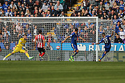 Leicester City defender Danny Simpson (17) misses an open goal during the Barclays Premier League match between Leicester City and Southampton at the King Power Stadium, Leicester, England on 3 April 2016. Photo by Simon Davies.