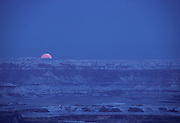 Sunrise, Full Moon, Moon, Rock Formations, Sandstone, Snow, Winter, Canyonlands, Canyonlands National Park, Utah