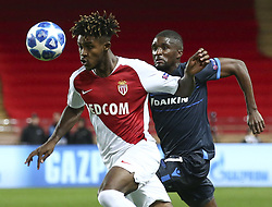 FONTVIEILLE, Nov. 7, 2018  Clinton Mata (R) of Brugge vies with Gabe Gouano of Monaco during the UEFA Champions League group A match between Monaco and Club Brugge in Fontvieille, Monaco on Nov. 6, 2018. Brugge won 4-0. (Credit Image: © Serge Haouzi/Xinhua via ZUMA Wire)