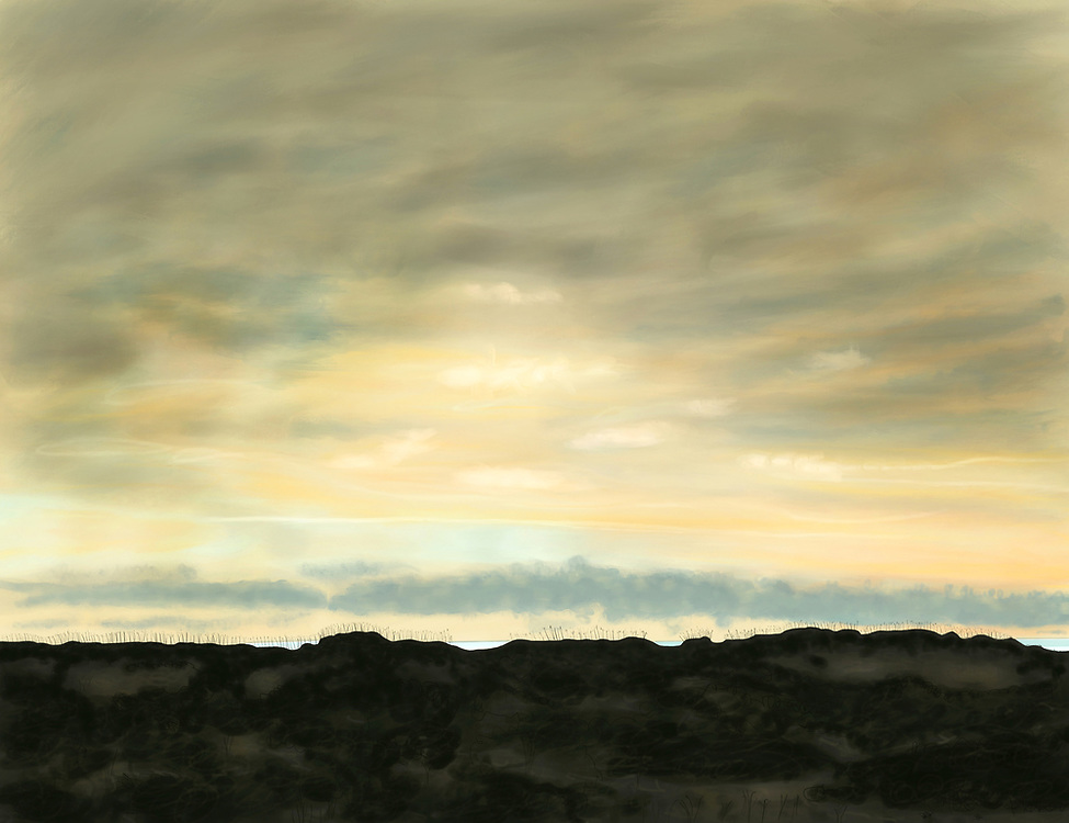 Sand dunes, sea grass and sky at Swan Beach, Outer Banks, North Carolina.
