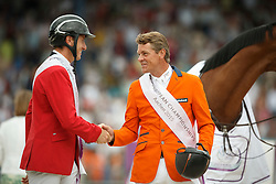 iIndividual podium, Wathelet Gregory, (BEL), Dubbeldam Jeroen, (NED)<br /> Individual Final Competition round 2<br /> FEI European Championships - Aachen 2015<br /> © Hippo Foto - Dirk Caremans<br /> 23/08/15