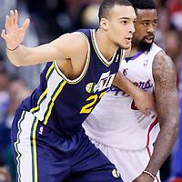 01 February 2014: Los Angeles Clippers center DeAndre Jordan (6) defends on Utah Jazz center Rudy Gobert (27) during the Los Angeles Clippers 102-87 victory over the Utah Jazz at the Staples Center, Los Angeles, California, USA.