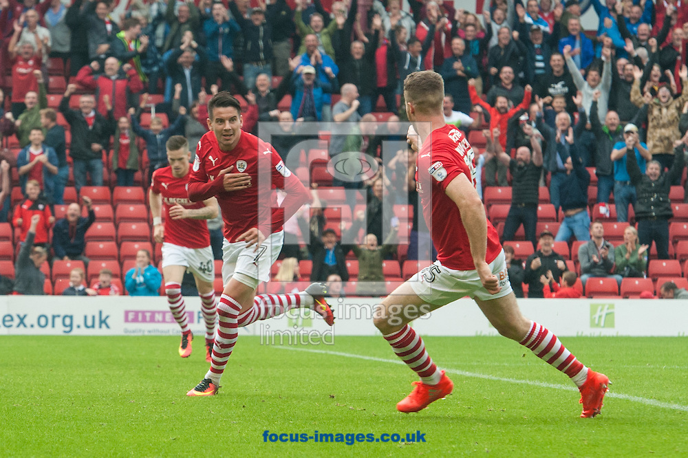 Adam Hammill of Barnsley (2nd from left) turns to celebrate after scoring his sides second goal during the Sky Bet Championship match at Oakwell, Barnsley<br /> Picture by Matt Wilkinson/Focus Images Ltd 07814 960751<br /> 27/08/2016