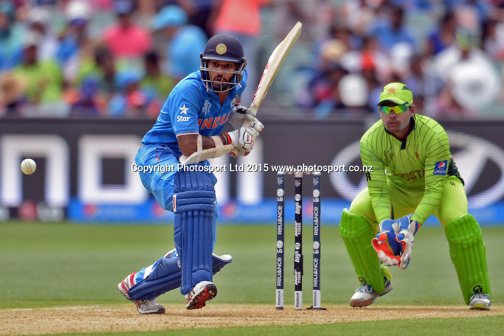 Indian batsman Shikhar Dhawan in action during the ICC Cricket World Cup match between India and Pakistan at Adelaide Oval in Adelaide, Australia. Sunday 15 February 2015. Copyright Photo: Raghavan Venugopal / www.photosport.co.nz
