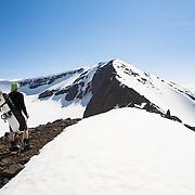 Óliver Hilmarsson ascending mt. 1124m.  Flateyjardalur, Iceland.