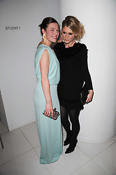 Left to right, CAMILLA RUTHERFORD and EMILIA FOX at a party to celebrate Lancome's 10th anniversary of sponsorship of the BAFTA's in association with Harper's Bazaar magazine held at St.Martin's Lane Hotel, London on 19th February 2010.