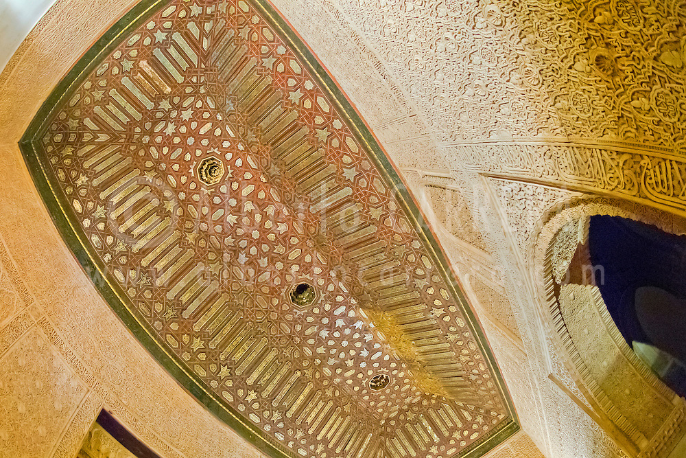 Alberto Carrera, Decorated Ceiling, Nazaries Palaces, La Alhambra, UNESCO World Heritage Site, Granada, Andalucía, Spain, Europe