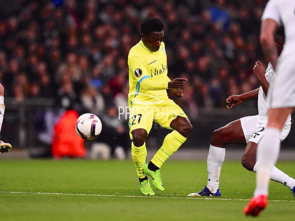 Gent player Moses Simon hits a shot on goal in the first half during the Europa League match between Tottenham Hotspur and KAA Gent at Wembley Stadium, London, England on 23 February 2017. Photo by Ian  Muir.