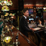 WASHINGTON, DC - MAR7: Caspar Phillipson, the Danish actor who played JFK in the recent movie Jackie, reenacts some of President Kennedy's most famous speeches, at Martin's Tavern in Georgetown, March 7, 2017. (Photo by Evelyn Hockstein/For The Washington Post)