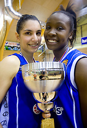 Ivona Matic and Nikya Hughes of Celje celebrate with the Cup at finals match of Slovenian 1st Women league between KK Hit Kranjska Gora and ZKK Merkur Celje, on May 14, 2009, in Arena Vitranc, Kranjska Gora, Slovenia. Merkur Celje won the third time and became Slovenian National Champion. (Photo by Vid Ponikvar / Sportida)