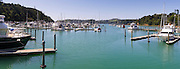 Panoramic view of Tutukaka Harbor from a moored boat.