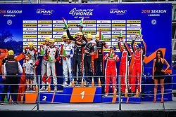 May 13, 2018 - Monza, Italie - 26 G DRIVE RACING (RUS) ORECA 07 GIBSON LMP2 ROMAN RUSINOV (RUS) ANDREA PIZZITOLA (FRA) JEAN ERIC VERGNE (FRA) WINNER LMP2 #33 TDS RACING (FRA) ORECA 07 GIBSON LMP2 MATTHIEUX VAXIVIERE (FRA) FRANCOIS PERRODO (FRA) LOIC DUVAL (FRA) SECOND LMP2 #28 IDEC SPORT (FRA) ORECA 07 GIBSON LMP2 PAUL LAFARGUE (FRA) PAUL LOUP CHATIN (FRA) MEMO ROJAS (MEX) THIRD LMP2 (Credit Image: © Panoramic via ZUMA Press)