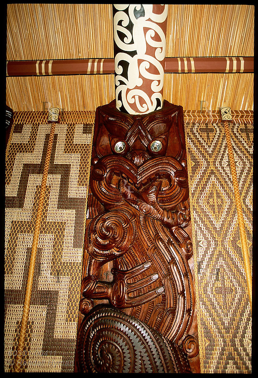 Wooden sculpture of tribal god is one of many inside the Maori Meeting House at the Waitangi Treaty Grounds, New Zealand.