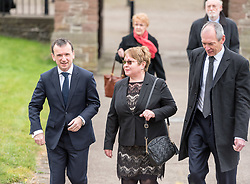 © Licensed to London News Pictures. 22/03/2019. Newport, Monmouthshire, UK. Funeral of Paul Flynn, Labour MP at St Woolos Cathedral. ALUN CAIRNS, Secretary of State for Wales, arrives at the funeral. Jeremy Corbyn spoke at the funeral service. Photo credit: Simon Chapman/LNP