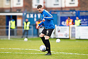 Mansfield Town defender Matt Preston warming up before the match the EFL Sky Bet League 2 match between Macclesfield Town and Mansfield Town at Moss Rose, Macclesfield, United Kingdom on 16 November 2019.