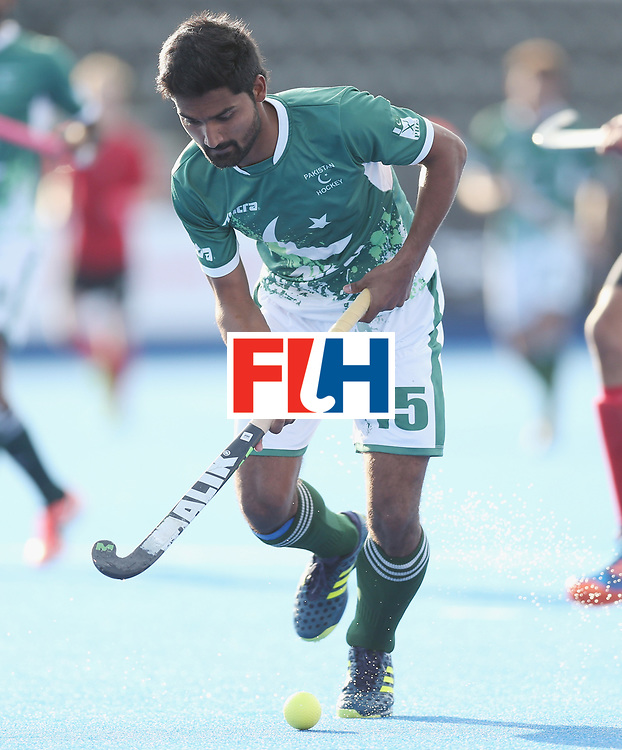 LONDON, ENGLAND - JUNE 16: Muhammad Dilber of Pakistan during the Hero Hockey World League semi final match between Pakistan and Canada at Lee Valley Hockey and Tennis Centre on June 16, 2017 in London, England.  (Photo by Alex Morton/Getty Images)