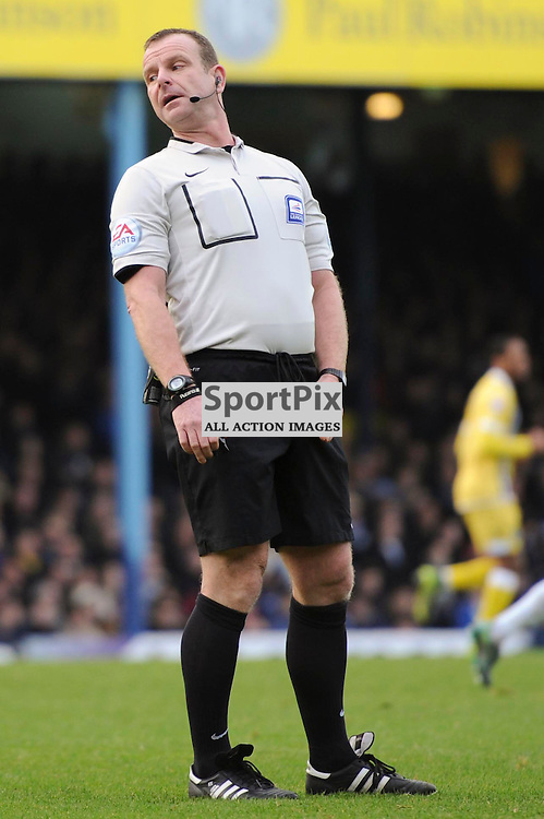 Todays referee, Kevin Wright in action during the Southend v Millwall game in the Sky Bet League 1 on the 28th December 2015.