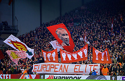 "LIVERPOOL, ENGLAND - Thursday, March 10, 2016: Liverpool supporters' banner ""European Elite"" on the Spion Kop before the UEFA Europa League Round of 16 1st Leg match against Manchester United at Anfield. (Pic by David Rawcliffe/Propaganda)"
