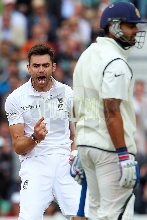 James Anderson of England celebrates the wicket of Murali Vijay of India during day three of the fifth Investec Test Match between England and India held at The Kia Oval cricket ground in London, England on the 17th August 2014<br /> <br /> Photo by Ron Gaunt / SPORTZPICS/ BCCI