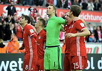 Sch,ussjubel v.l. Javier ''Javi'' Martinez, Joshua Kimmich, Torwart Manuel Neuer (Bayern), Franck Ribery, Thomas Mueller (Bayern)<br /> Koeln, 04.03.2017, Fussball, Bundesliga, 1. FC Koeln - FC Bayern München 0:3<br /> Norway only