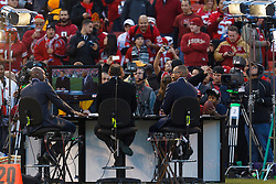 Dec 19, 2011; San Francisco, CA, USA; San Francisco 49ers former wide receiver Jerry Rice (left) talks to ESPN commentators Steve Young (center) and Stuart Scott (right) before the game against the Pittsburgh Steelers at Candlestick Park. Mandatory Credit: Jason O. Watson-US PRESSWIRE