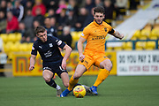 16th February 2019, Tony Macaroni Arena, Livingston, Scotland; Ladbrokes Premiership football, Livingston versus Dundee; Craig Halkett of Livingston challenges for the ball with Andy Dales of Dundee