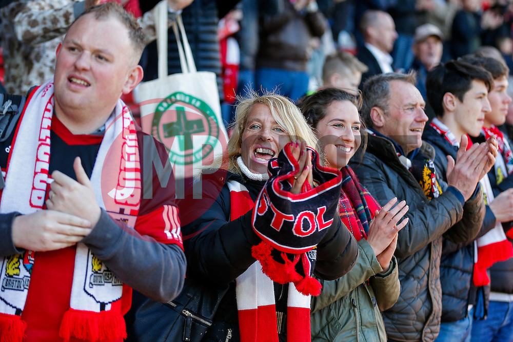 Bristol City fans celebrate after their side win 4-1 - Mandatory byline: Rogan Thomson/JMP - 09/04/2016 - FOOTBALL - Ashton Gate Stadium - Bristol, England - Bristol City v Sheffield Wednesday - Sky Bet Championship.