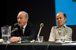 """© Licensed to London News Pictures. File Picture:16 March 2012; Bristol, UK; File picture of Lord Hunt (left) being listened to by Christopher Jefferies, at the Bristol Branch of the National Union of Journalists annual Benn Debate with the title """"Hacked to bits; Restoring public trust in journalism"""" at the Arnolfini gallery in Bristol. The debate centred on phone hacking, the Leveson inquiry, and trust and regulation of the press. The speakers were Lord Hunt, Christopher Jefferies, Richard Peppiatt, Thais Portilho-Shrimpton, Steve Brodie from BBC Bristol, Mike Norton editor of the Bristol Post.  The event was chaired by Donnacha Delong, President of the National Union of Journalists. 16 March 2012..Photo credit : Simon Chapman/LNP"""