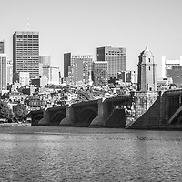 Boston Skyline black and white panorama photo with the Longfellow Bridge along the Charles River. Boston Massachusetts is a major city in the Eastern United States of America.