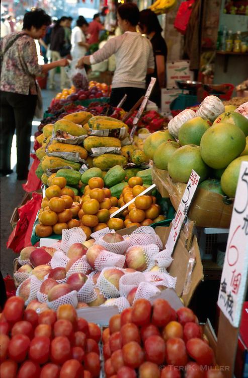 Produce for sale at a market, Hong Kong, China.