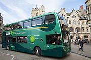 Green park and ride bus in Oxford City, England, United Kingdom. This bus scheme encourages people to park their cars outside the city centre to reduce congestion.  <br /> (photo by Andrew Aitchison / In pictures via Getty Images)