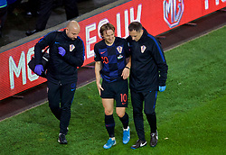 CARDIFF, WALES - Sunday, October 13, 2019: Croatia's captain Luka Modrić limps off with an injury during the UEFA Euro 2020 Qualifying Group E match between Wales and Croatia at the Cardiff City Stadium. (Pic by Paul Greenwood/Propaganda)