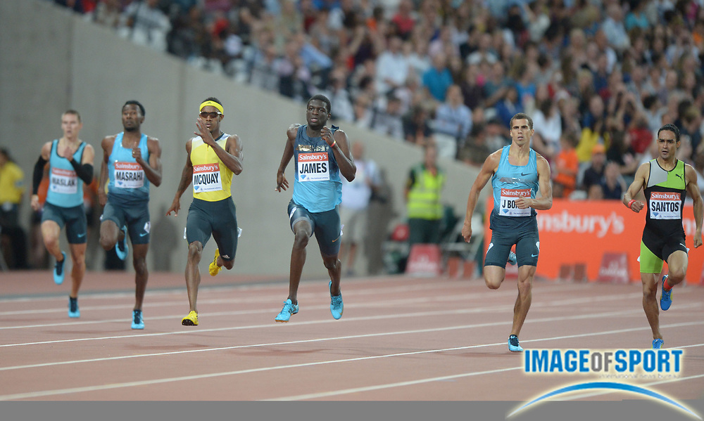Jul 26, 2013; London, UNITED KINGDOM; Kirani James (GRN) wins the 400m in 44.65 in the Sainsbury's Anniversary Games at Olympic Stadium. From left: Yousef Ahmed Masrahi (KSA), Tony McQuay (USA), James and Jonathan Borlee (BEL) and Lugelin Santos (DOM).