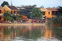 Looking across the Thu Bon river to the ancient town of Hoi An, Vietnam