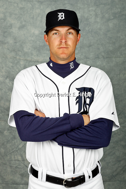 February 28, 2012; Lakeland, FL, USA; Detroit Tigers relief pitcher Adam Wilk (57) poses for photo day in the rec room at the Detroit Tigers Headquarters.  Mandatory Credit: Derick E. Hingle-US PRESSWIRE