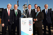 MELBOURNE, AUSTRALIA - JULY 30:  Prime Minister Kevin Rudd, Chairman ICC CWC 2015 Ralph Waters, Victorian Premier Dennis Napthine, CWC CEO John Harnden, Vice President ICC Mustafa Kamal,ICC CEO David Richardson pose during the Official Launch of the ICC Cricket World Cup 2015 on July 30, 2013 in Melbourne, Australia. Photo: Robert Prezioso/ ICC