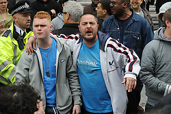 © Licensed to London News Pictures. 23/05/2013.Woolwich Soldier Murder.Protesters shouting at Boris Johnson in Woolwich town Centre..Woolwich 'terrorist attack': One dead and two seriously injured. Woolwich Barracks,Woolwich..Photo credit :Grant Falvey/LNP