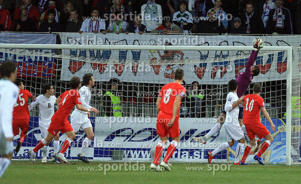 Goalkeeper of Slovenia Jasmin Handanovic at the 8th day qualification game of 2010 FIFA WORLD CUP SOUTH AFRICA in Group 3 between Slovenia and Czech Republic at Stadion Ljudski vrt, on March 28, 2008, in Maribor, Slovenia. Slovenia vs Czech Republic 0 : 0. (Photo by Vid Ponikvar / Sportida)