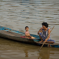 Chong Kneas is a floating village in Cambodia which is located on the Tonle Sap Lake.