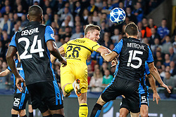 September 18, 2018 - Brugge, BELGIUM - Dortmund's Lukasz Piszczek and Club's Matej Mitrovic fight for the ball during a game between Belgian soccer team Club Brugge KV and German club Borussia Dortmund, in Brugge, Tuesday 18 September 2018, day one of the UEFA Champions League, in group A. BELGA PHOTO KURT DESPLENTER (Credit Image: © Kurt Desplenter/Belga via ZUMA Press)