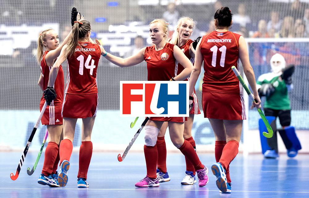 BERLIN - Indoor Hockey World Cup<br /> Bronze: Ukraine - Belarus<br /> foto: Belarus celebrate.<br /> WORLDSPORTPICS COPYRIGHT FRANK UIJLENBROEK