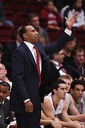 November 14, 2014; Stanford, CA, USA; Stanford Cardinal head coach Johnny Dawkins instructs against the Wofford Terriers during the first half at Maples Pavilion.